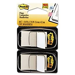 Post-it?Ã'Â« Flags, 1 Inch, Ideal For Marking and Flagging Paper Documents, White, 50 per Dispenser, Two Dispensers per Pack