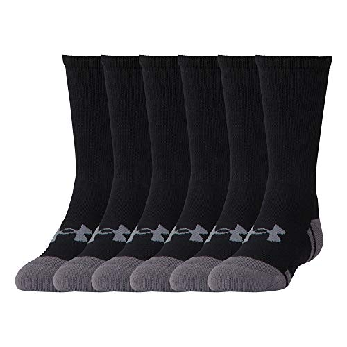 Under Armour Youth Resistor 3.0 Crew Socks, 6 Pairs, Black/Graphite, Shoe Size: Youth -