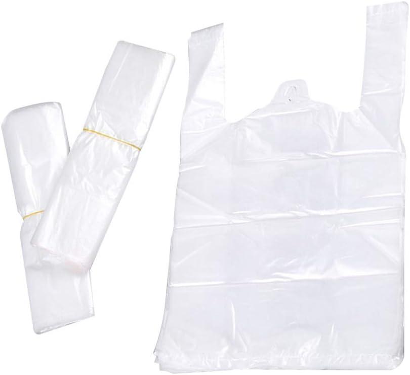 LIOOBO 50 unids Bolsa de plástico Espesar Reutilizables comestibles Camisetas Llevar Bolsas de Compras al por Menor maneja Bolsas 30x50x0.03 cm