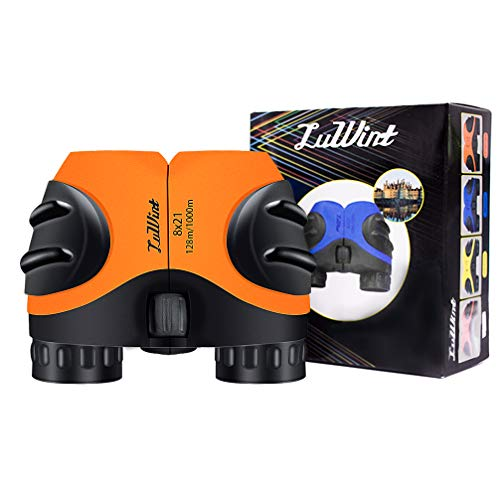 Luwint 8 X 21 Orange Kids Binoculars for Bird Watching, Watching Wildlife or Scenery, Game, Mini Compact and Image Stabilized, Best Gifts for Children TM-CWYJ-OG