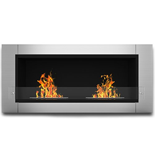 Elite Flame Fargo Ventless Bio Ethanol Recessed or Wall Mounted Fireplace