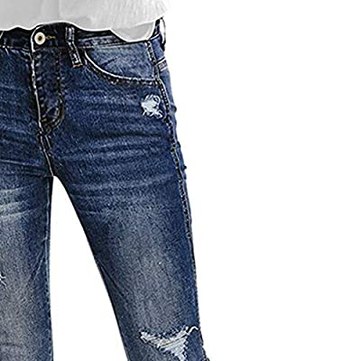 2020 New Womens Casual Mid Waist Skinny Ripped Soft Jeans Denim Pants Bodycon Jeans with Hole at  Women's Jeans store