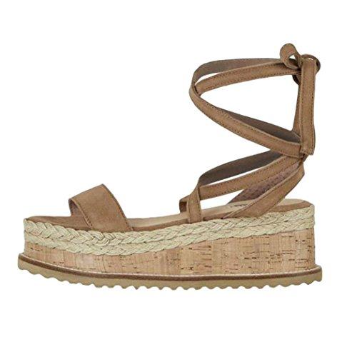 Ömer Sommer Plattform Damen Gewebt Unten Braun Sandalen Dick DEELIN Schuhe Keil Wasserdicht Sandalen Xwqt8q5E