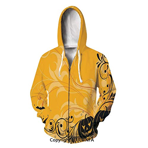 Hooded Sweatshirt Halloween Decorations Patterns and Webs Men's Fit Full-Zip]()