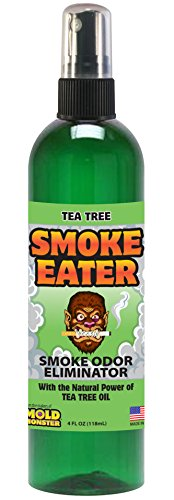 Smoke Eater - Breaks Down Smoke Odor at the Molecular Level - Eliminates Cigarette, Cigar or Pot Smoke On Clothes, in Cars, Boats, Homes, and Office - 4 oz Travel Spray Bottle (TEA TREE OIL)
