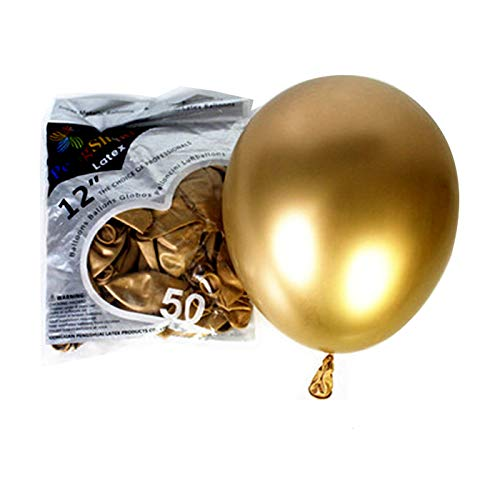 (COLORFUL ELVES Metallic Chrome Latex Balloons 12 Inch Happy Birthday Baby Showers Bridal Shower Weddings Bachelorette Party Decorations 50 Pcs Gold)