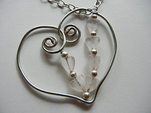 Rose Quartz Hearts on a Freeform (Freeform Heart Necklace)
