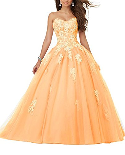 JINGDRESS Women's Sweetheart Lace Appliques Prom Dresses Beaded Long Quinceanera Dresses by JINGDRESS