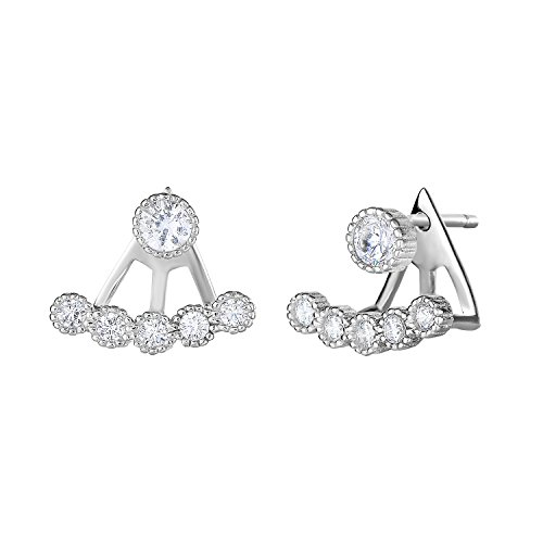 Sterling Silver 1 Row Mini Front Back 2 in 1 Cubic Zirconia Stud and Ear Jacket Earrings Set