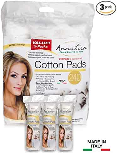 AnnaLisa 100% Pure Combed Cotton Makeup/Nail Polish Remover Pads|240-Piece Italian Round Facial Cleansing| 3 Packs of 80 Hypoallergenic & Absorbing Cotton Rounds for Face