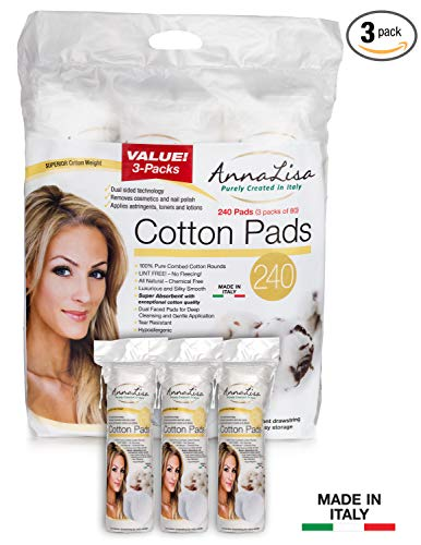 AnnaLisa 100% Pure Combed Cotton Pads for Makeup/Nail Polish Removal |240-Piece Italian Round Facial Cleansing| 3 Packs of 80 Hypoallergenic & Absorbing Cotton Rounds for ()