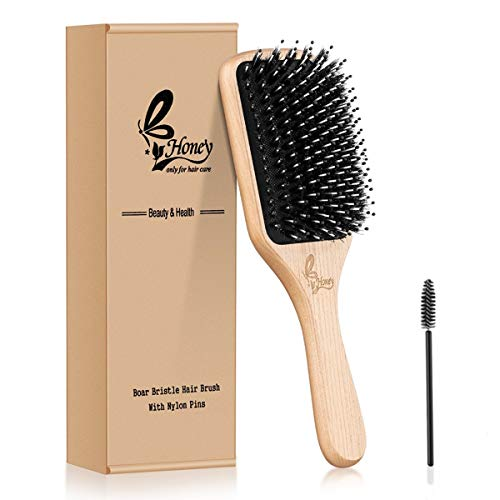 Paddle Hair Brush - B.y Honey Hair Brush-[Upgraded] Natural Boar Bristle Hairbrush for Women Men Long Thick Fine Curly Wavy Dry Wet All Hair Types,10 Ounce Best Paddle Brush for Reducing Hair Breakage,Adding Shine-1 Count