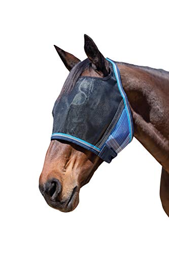 Kensington UViator Protective Fly Mask - Newest UV Solar Screen Protection with a 90% UV Rating - Double Locking CatchMask Fasteners - Non Heat Transferring Fabric (Kentucky Blue, Large) (Best Uv Fly Mask For Horses)