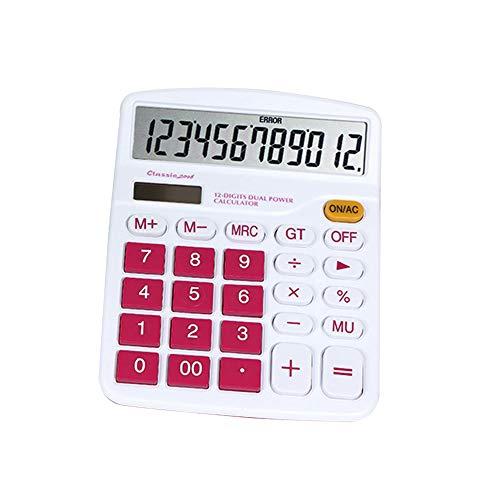 bjduck99 12 Digit Solar Power Battery Calculator Home Office School Stationery Supply Tool Rose - Power Calculator Supply