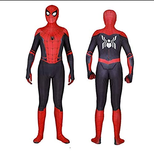 Silica Gel Spider Logo Unisex Lycra Spandex Zentai Halloween 2019 New far from Home New Spiderman Cosplay Costumes Adult/Kids (Only Adult Mask, mask)