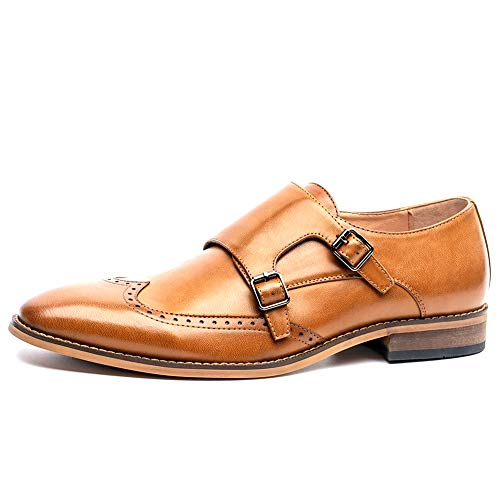 Mens Double Monk Strap Shoes Slip-on Wingtip Oxfords Business Casual Dress Shoes,Brown 12