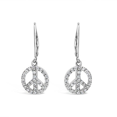 925 Solid Sterling Silver Peace Sign Dangle Cubic Zirconia Earrings - CZ Dangling Hypoallergenic ()
