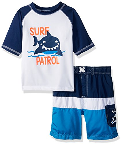 Wippette Baby Toddler Boys' Inf Pelican 2PC Rashguard Set, Shark Navy, 3T (Boys Bathing Toddler Suit)