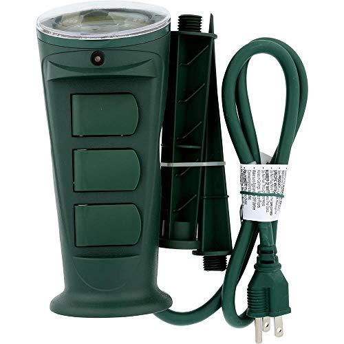 AmerTac TM17DOLB Westek Outdoor Daily Mechanical 3-Outlet Grounded Self-Adjusting Photocell Stake Timer, Green