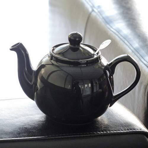 cer/ámica, 2 Tazas, 500 ML Tetera peque/ña con infusor Color Negro Brillante London Pottery