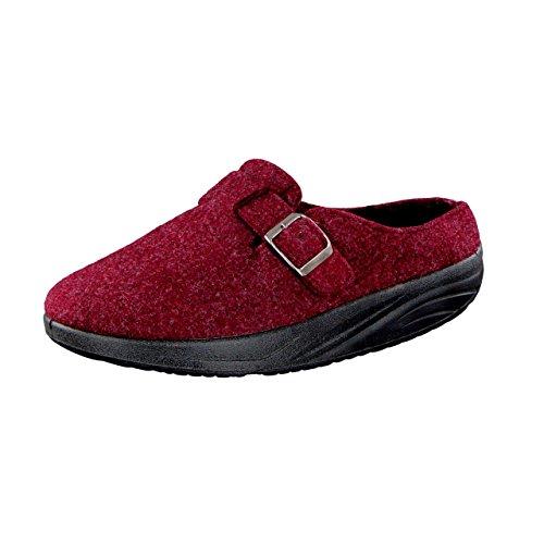 Wellness Comfort Zapatillas abroll Mujer de la Salud Efecto Burgundy borgoña