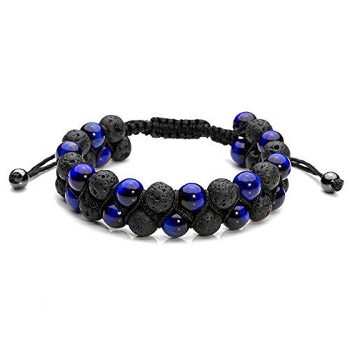 Jovivi Mens Lava Rock Stone Essential Oil Bracelet Blue Tiger Eye Beads Double Layer Bracelets Macrame Adjustable Braided