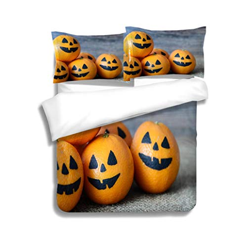 MTSJTliangwan Duvet Cover Set Painted Scary Faces on a Holiday of Halloween on Orange 3 Piece Bedding Set with Pillow Shams, Queen/Full, Dark Orange White Teal Coral -