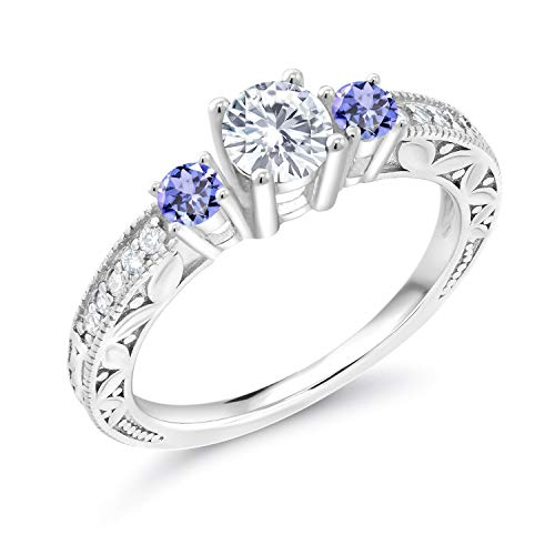 925 Sterling Silver 3-Stone Ring Forever Brilliant (GHI) Round 0.50ct (DEW) Engagement Ring Created Moissanite by Charles & Colvard and Tanzanite (Size ()
