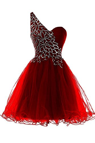 Burgundy shoulder Dresses Tulle Party One Women's Cocktail Dress Prom Homecoming Short AiniDress PnwAPq47