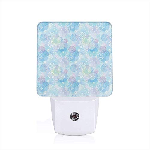 Colorful Plug in Night,Bokeh Style Background with Abstract Snowflake Pattern Winter Themed Composition,Auto Sensor LED Dusk to Dawn Night Light Plug in Indoor for Childs Adults