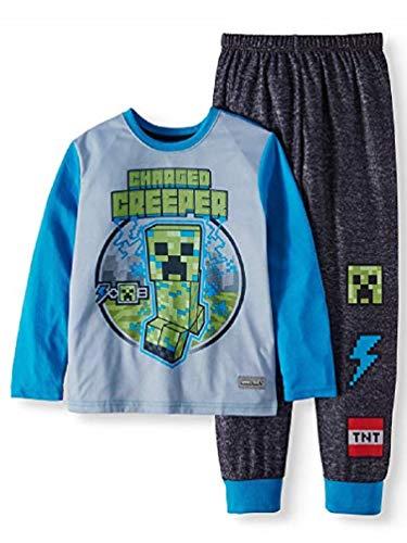 - Minecraft Charged Creeper Fleece 2 Piece Pajama Sleep Set,Gray,Extra Large (14/16)