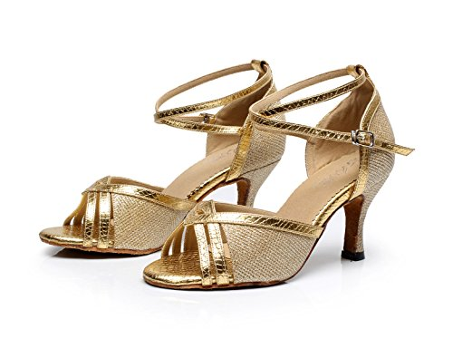 JSHOE Chaussures De Danse Pour Femmes Latin Salsa / Tango / Thé / Samba / Moderne / Jazz Chaussures Sandales Talons Hauts,Gold-heeled7.5cm-UK7.5/EU42/Our43