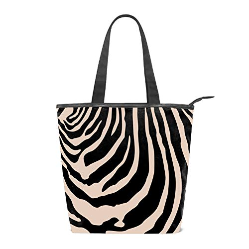 - Women's Canvas Zipper Closure Handbag Zebra Stripes Pattern Handbags Shoulder Lunch Tote Bag with Large Capacity Best Gifts for Teen Girls