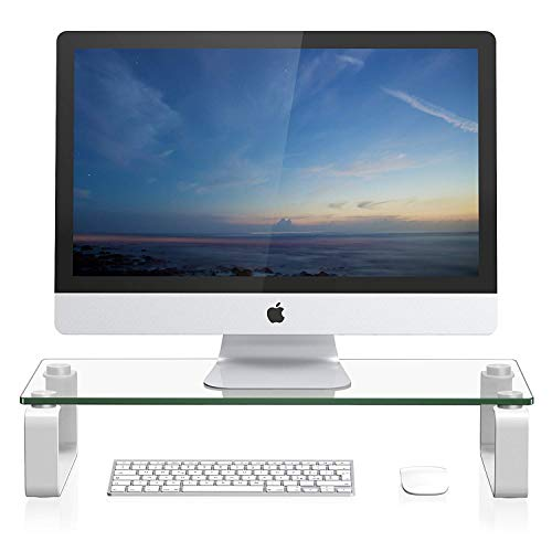 FITUEYES Tempered Glass Computer Monitor Riser Printer Machine Stand TV Shelf Riser/Stand 4.7 High 23.6 Save Space Desktop Stand for Xbox One/Component/Flat Screen TV-White DT106004GW