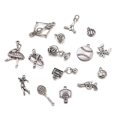 Kissitty 200g Antique Silver Lead Free & Nickel Free Random Mixed Alloy Sport Theme Charms Collection 15~31mm DIY Jewelry Craft Making Metal Pendants (About 130pcs)