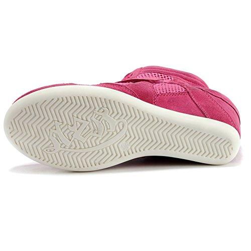Shenn Mujer Clásico Malla Moda Zapatillas Cuña Talón de Cuña Media Zapatilla de Deporte 8522-2 Rosa