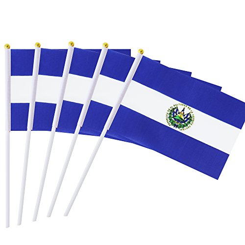 Hand Held El Salvador Flag Salvadoran Flag Stick Flag Mini Flag 50 Pack Round Top National Country Flags, Party Decorations Supplies For Parades,World Cup,Sports Events,International Festival