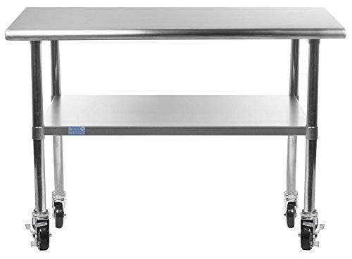 Work Table With 4 Casters Wheels Stainless Steel Food Prep Worktable 18u0027u0027 X  36
