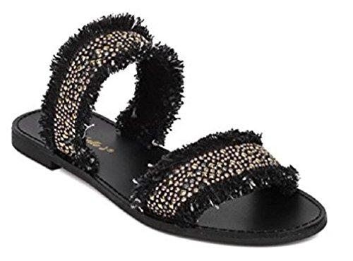 Breckelles Kylee-19 Sandalo Flat Con Perline - Sandalo Double Band - Denim Sfilacciato - Di Breckelles Collection Black Denim