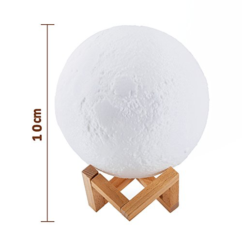 Ocamo Desk Lamp Simulation 3D Moon Night Light Earth Light, 3 LEDs USB Rechargeable Moonlight with Wood Base 10cm by Ocamo (Image #1)
