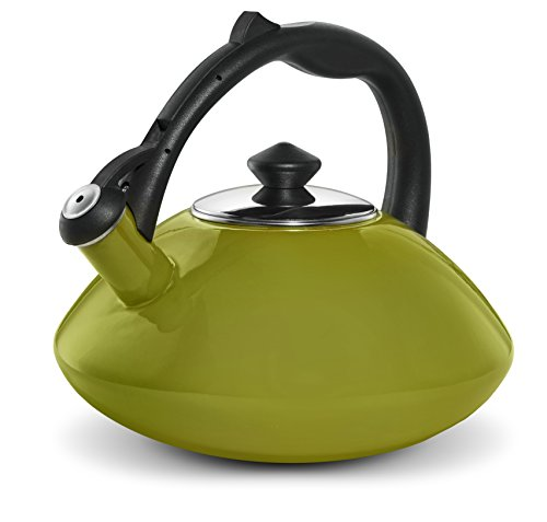 Osaka, Enamel Coated Stainless Steel Kettle For Tea, Coffee And More - Quick Boil, Rust-Resistant, Stovetop Teapot With Heat-Resistant Handle - Large 3 Quart Capacity Teakettle (Green)
