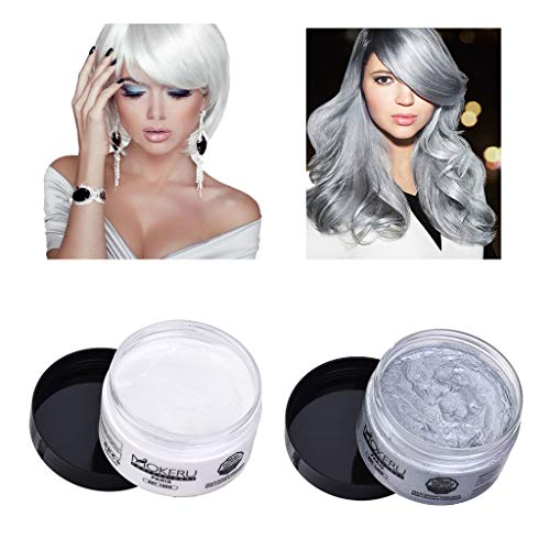 (Hair Color Wax Temporary,Mosunx Set of 2 Colors Washable Unisex Dye Styling Cream Mud, Natural Hairstyle Pomade for Men and Women (Silver + White, 100g(0.23Ib) /)