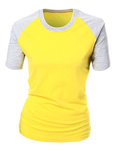 T-shirt Raglan Tone (Xpril Basic Solid Two Tone Raglan Short Sleeves Top Yellow Size 2XL)