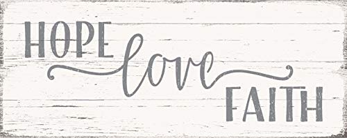 Hope Love Faith Plaques - SIXTREES Hope Love Faith 4X10 Inch Wood Decorative Box Sign