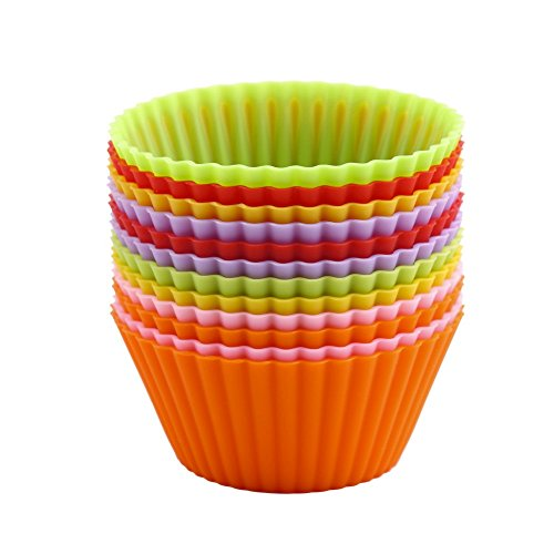 New Arrival 12 Piece Round Shape Silicone Muffin Cases Cake Cupcake Liner Baking Mold Bakeware Maker Mold Tray Baking Tools Sets (Mixed color)