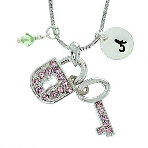 Sparkling Crystal Block Ring Chandelier: Amazon.com: Personalized Key Lock Pink Pendant Sparkling