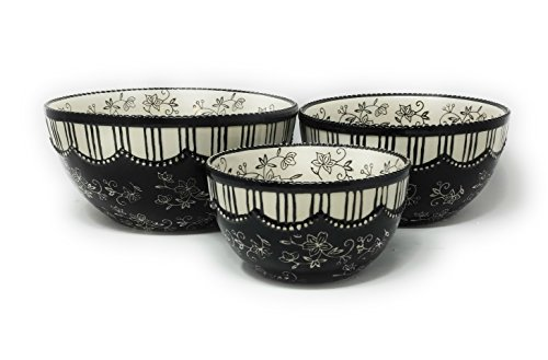 (Temp-tations S/3 Nesting Serving Bowls, 3,2, 1 Quart (Floral Lace Black))