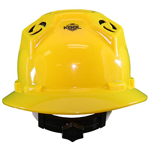 Hard Hat Head Protection Kool Breeze Solar Helmet With Rechargeable Battery and Adjustable Ratchet Suspension (Yellow) by Kool Breeze Solar Hats (Image #2)