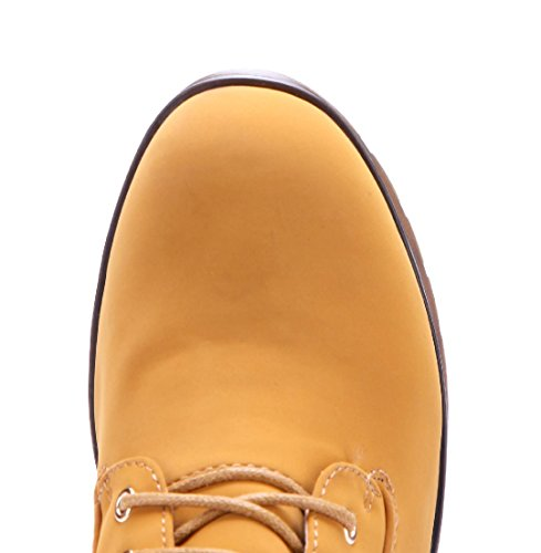 Schuhtempel24 Damen Schuhe Plateau Stiefel Stiefeletten Boots Blockabsatz 8 cm Camel