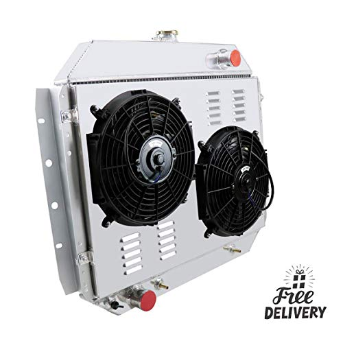 CoolingCare 3 Row Aluminum Radiator+ Shroud +Fans (2x12 Inches) for 1966-79 Ford F100 F150 F250 F350 Pickup Truck V8